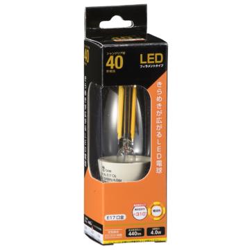 LED電球 フィラメント シャンデリア形 E17 40W相当 [品番]06-3466