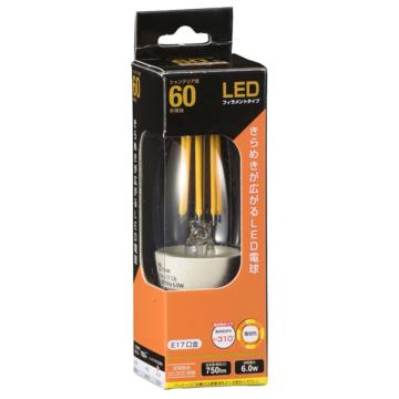 LED電球 フィラメント シャンデリア形 E17 60W相当 [品番]06-3467