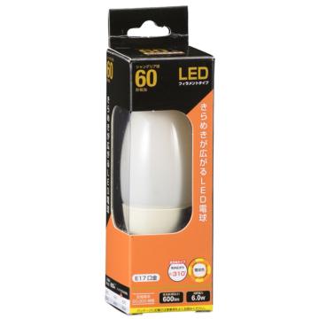LED電球 フィラメント シャンデリア形 E17 60形相当 [品番]06-3473