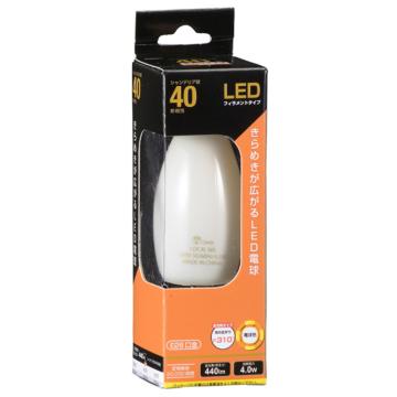 LED電球 フィラメント シャンデリア形 E26 40W相当 [品番]06-3475