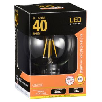 LED電球 フィラメント ボール形 E26 40形相当 [品番]06-3477