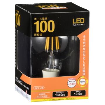 LED電球 フィラメント ボール形 E26 100W相当 [品番]06-3479