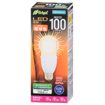 LED電球 T形 100形相当 E26 電球色 [品番]06-3127