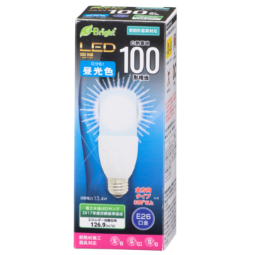 LED電球 T形 E26 100形相当 昼光色 [品番]06-3128