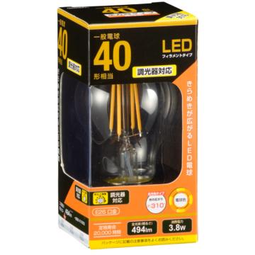 LED電球 フィラメント E26 40形相当 調光器対応 [品番]06-3482