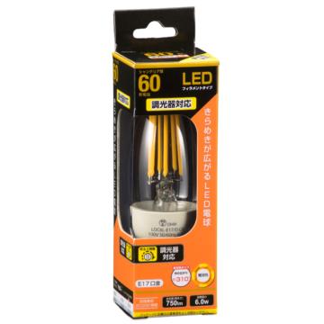 LED電球 フィラメント シャンデリア形 E17 60形相当 調光器対応 [品番]06-3487