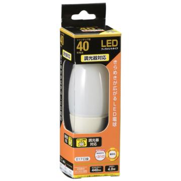 LED電球 フィラメント シャンデリア形 E17 40形相当 調光器対応 [品番]06-3492