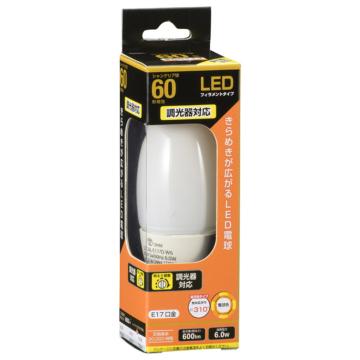 LED電球 フィラメント シャンデリア形 E17 60形相当 調光器対応 [品番]06-3493