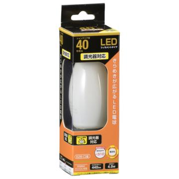 LED電球 フィラメント シャンデリア形 E26 40W相当 調光器対応 [品番]06-3495