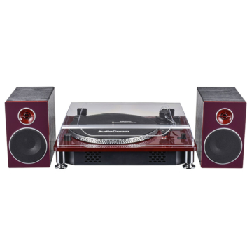AudioComm レコードプレーヤーシステム 外付けスピーカー付 [品番]07-8219