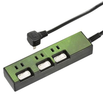 節電タップ 3個口 1.5m グリーン [品番]00-4348