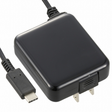 AC充電器 USB Type-C一体型 2.4A 黒 1.5m [品番]01-7082