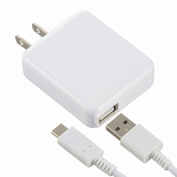 AC充電器 USB Type-C 2.4A 白 1.5m [品番]01-7083