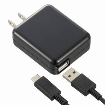 AC充電器 USB Type-C 3A 黒 1.5m [品番]01-7088