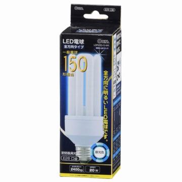 LED電球 D形 E26 150形相当 昼光色 [品番]06-0199