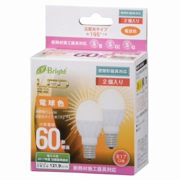 LED電球 小形 E17 60形相当 電球色 [品番]06-0719