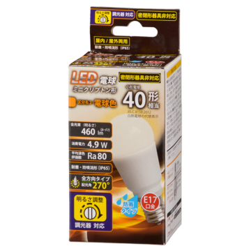 LED電球 ミニクリプトン形 E17 40形相当 調光器対応 防雨タイプ 電球色 [品番]06-1877