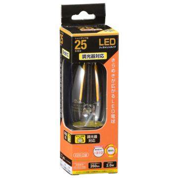 LED電球 フィラメント シャンデリア形 E26 25形相当 調光器対応 [品番]06-3488