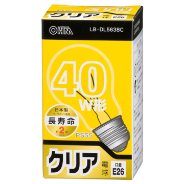 白熱電球 E26 40W形相当 クリア 長寿命 [品番]06-0551
