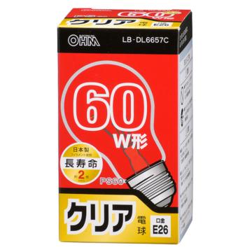 白熱電球 E26 60形相当 クリア 長寿命 [品番]06-0553