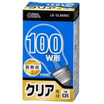 白熱電球 E26 100W形相当 クリア 長寿命 [品番]06-0555