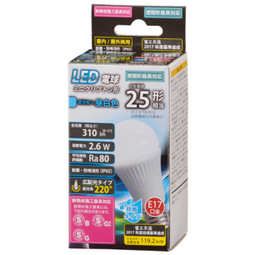 LED電球 ミニクリプトン形 E17 25形相当 昼白色 防雨 [品番]06-1882