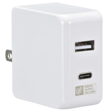 ACアダプター USB TypeC+TypeA [品番]01-3743