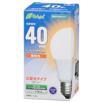 LED電球 E26 40形相当 電球色 [品番]06-3583