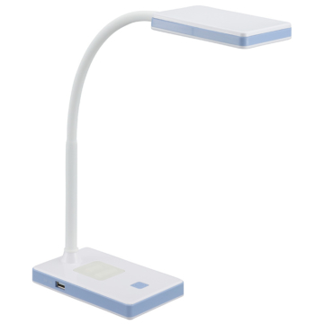 LEDデスクランプ USBポート付 昼白色 ホワイト/ブルー [品番]07-8619