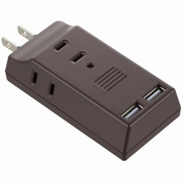 USB電源タップ USB2個口+AC3個口 ブラウン [品番]00-5046
