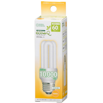 電球形蛍光灯 D形 E26 60形相当 電球色  [品番]06-0044
