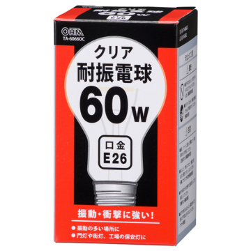 耐震電球 E26 60W クリア [品番]06-0582