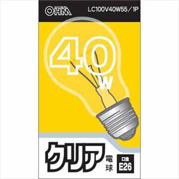 白熱電球 E26 40W クリア [品番]06-1751