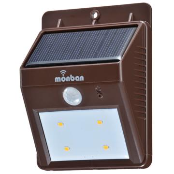 monban LEDセンサーウォールライト ソーラー発電式 ブラウン [品番]08-0685