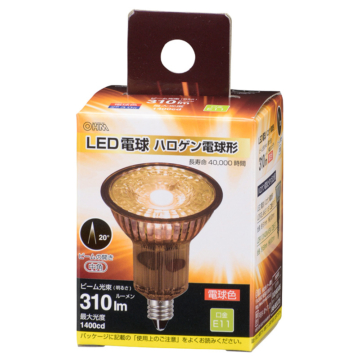LED電球 ハロゲン電球形 E11 中角 電球色 [品番]06-3401