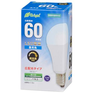 LED電球 E26 60形相当 広配光 密閉器具・調光器対応 昼光色 [品番]06-3620