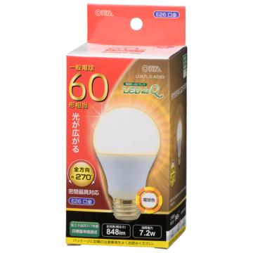 LED電球 E26 60形相当 電球色 [品番]06-3407