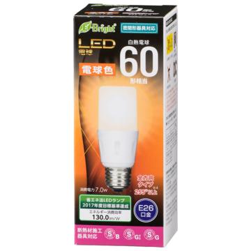LED電球 T形 E26 60形相当 電球色 [品番]06-3611