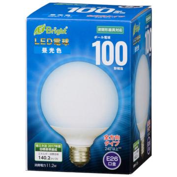 LED電球 ボール形 E26 100形相当 全方向 昼光色 [品番]06-3604