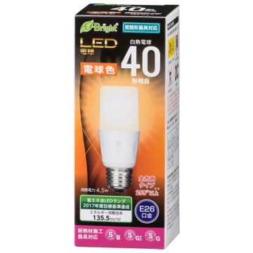 LED電球 T形 E26 40形相当 電球色 [品番]06-3609