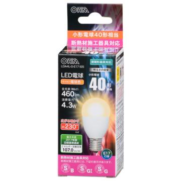 LED電球 小形 E17 40形相当 電球色 [品番]06-3197