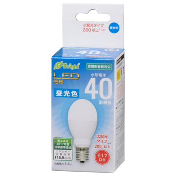 LED電球 小形 E17 40形相当 昼光色 [品番]06-3632