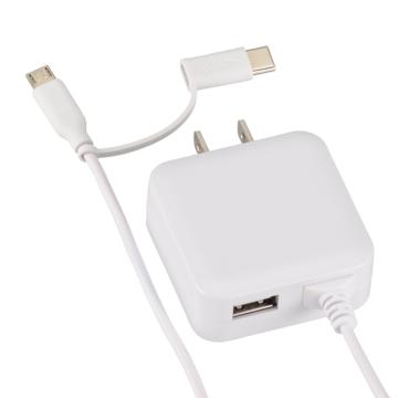 ACアダプター MicroUSB/TypeC変換プラグ USBポート付 [品番]01-3748
