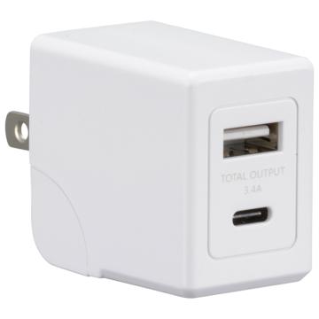 AC充電器 USB Type-C/Type-A 各1個口 急速充電 [品番]01-7142
