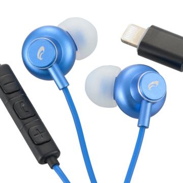 AudioComm ライトニング直結イヤホン ブルー [品番]03-2294