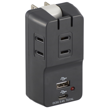 USBポート付き電源タップ 3個口 雷ガード ブラック [品番]00-5096