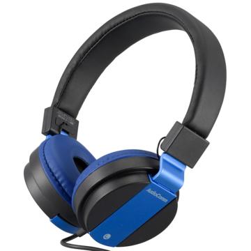 AudioComm ステレオヘッドホン 折りたたみ式 ブルー [品番]03-1687