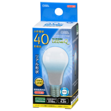 LED電球 小形 E17 40形相当 昼光色 [品番]06-3438
