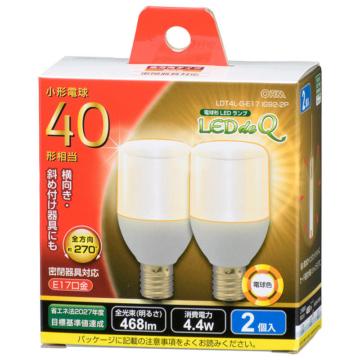 LED電球 T形 E17 40形相当 電球色 2個入 [品番]06-3737