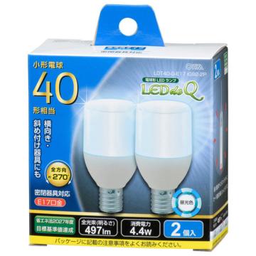LED電球 T形 E17 40形相当 昼光色 2個入 [品番]06-3738